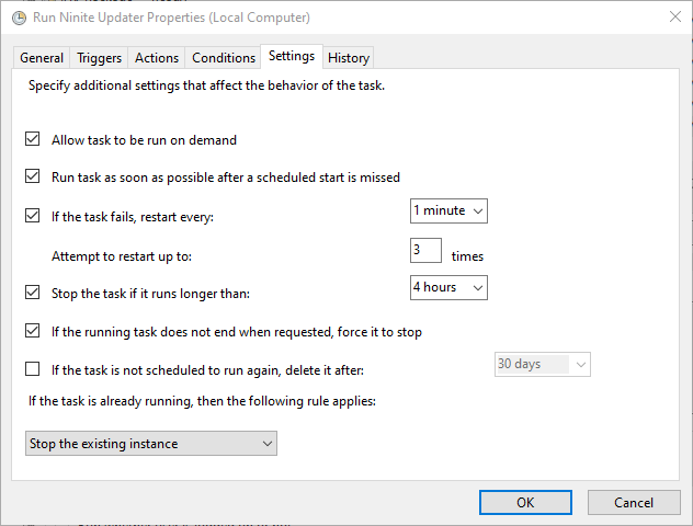 Enable some settings to ensure the task runs every week without fail