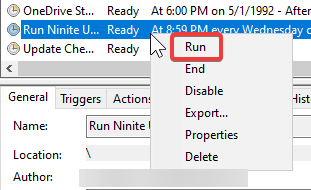 Right click on the task and run