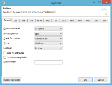 FileOptimizer Main Settings