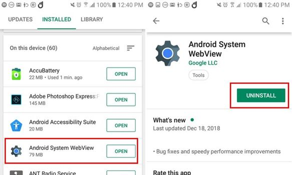 How to Uninstall Android System Webview