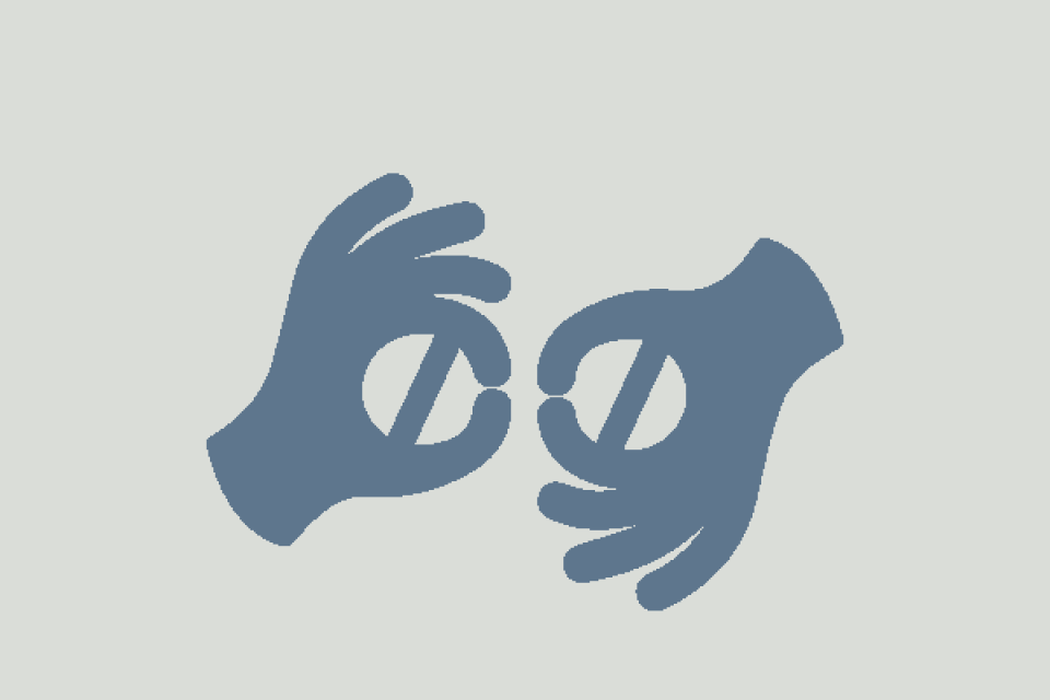 icon of hands signing and eyes