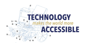 "Line drawing of wheelchair with the words ""Technology makes the world Accessible"""