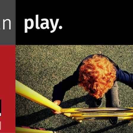 """Photo with words """"I can play"""" and a person climbing a ladder on a playground."""