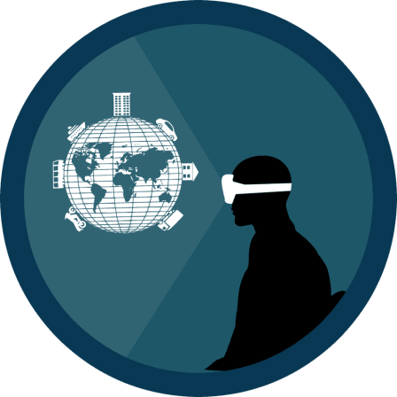 Silhouette of a person wearing goggles looking at a globe