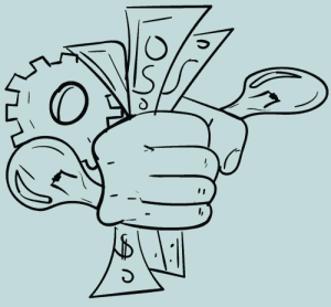fist holding money, gear and lightbulb