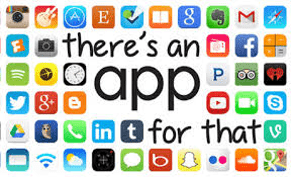 "A graphic that has 43 logos of different apps with the words ""There is an app for that"" in the middle"
