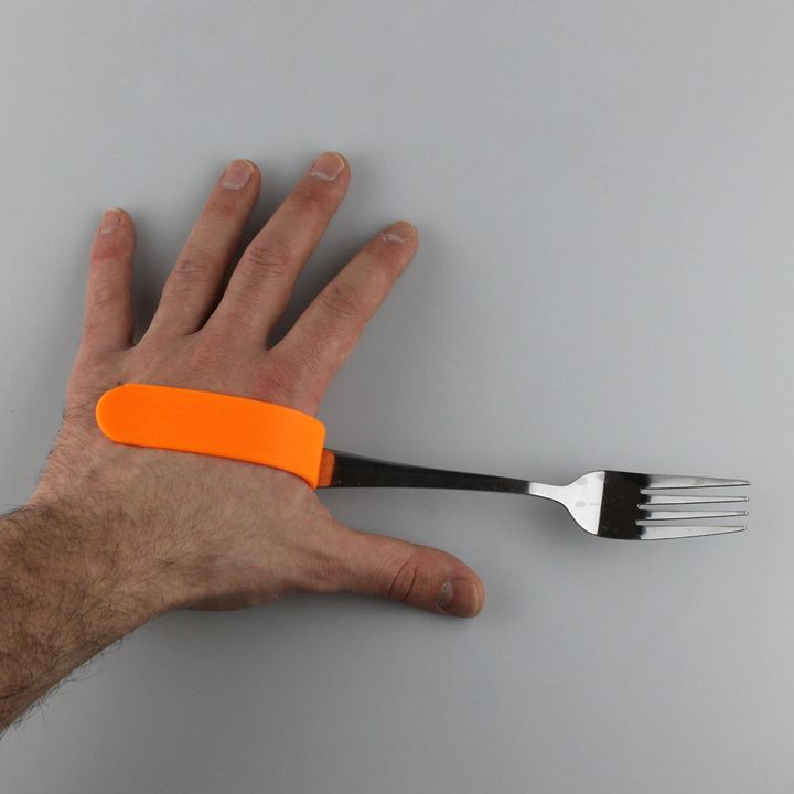 Fork held by a 3D printed cuff