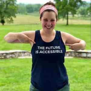 "Alanna wearing a shirt that says ""The future is accessible"""