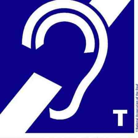 Blue sign indicating that a t-coil hearing loop is available