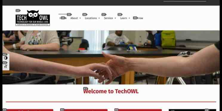 Screenshot of the TechOWL home page with numbers overlaid for voice control