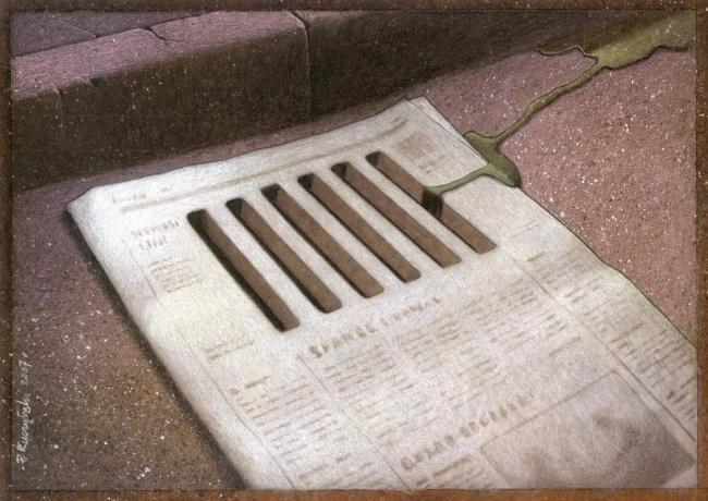 排水溝與報紙