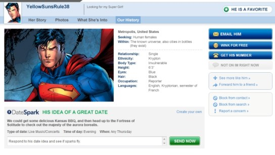 Superman's Match.com Profile