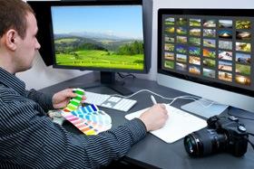 dual-computer-monitors-camera-desktop