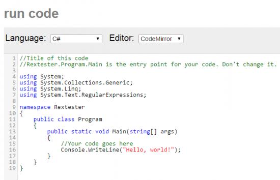 Rextester's run code