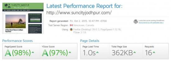 GTMetrix Score of Suncity Jodhpur