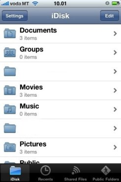 MobileMe iDisk app browse folders (screenshot)