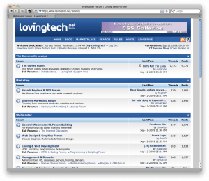 LovingTech Webmaster Forum screenshot
