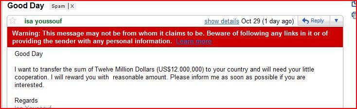 Gmail phishing alert