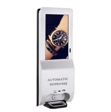 顔認証付き体温測定サーモグラフィーカメラと広告ディスプレイモニター付き自動消毒スプレー