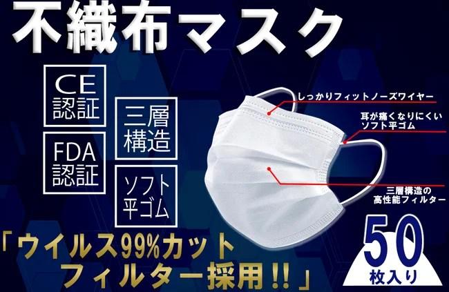 大運、三層構造不織布マスク