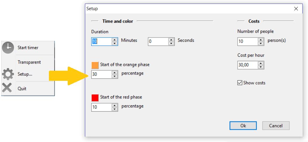 Popup-menu and setup form