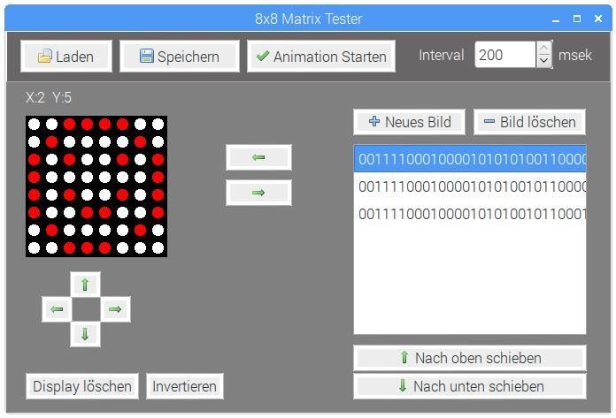 Beispiel-App für die 8x8 LED Matrix erstellt mit Lazarus