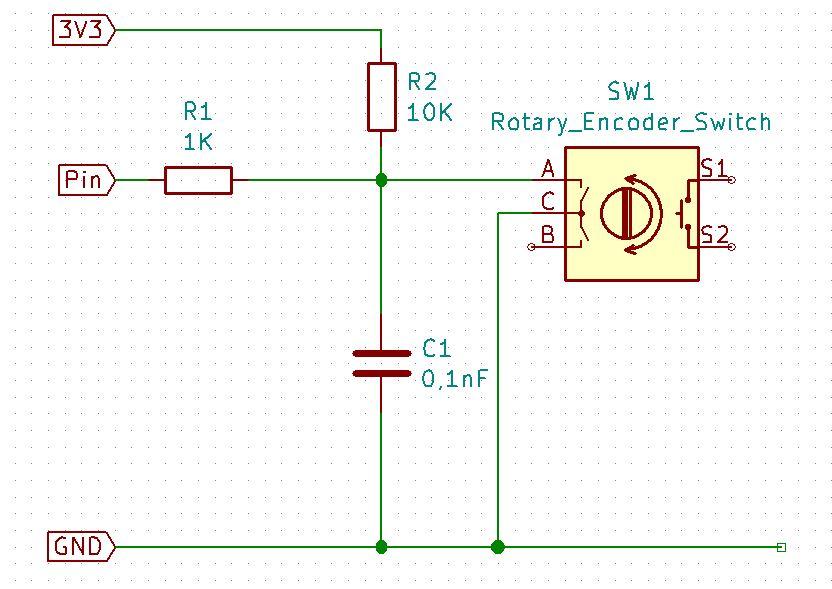 Schaltplan für den Dreh-Encoder mit Taster
