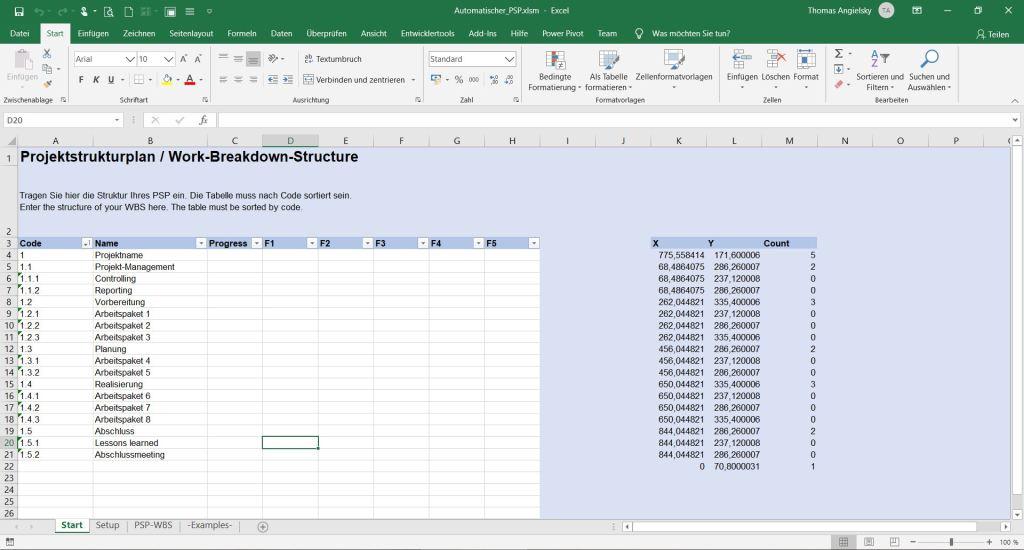 Excel Tabellenblatt Start Eingabe Projektstrukturplan