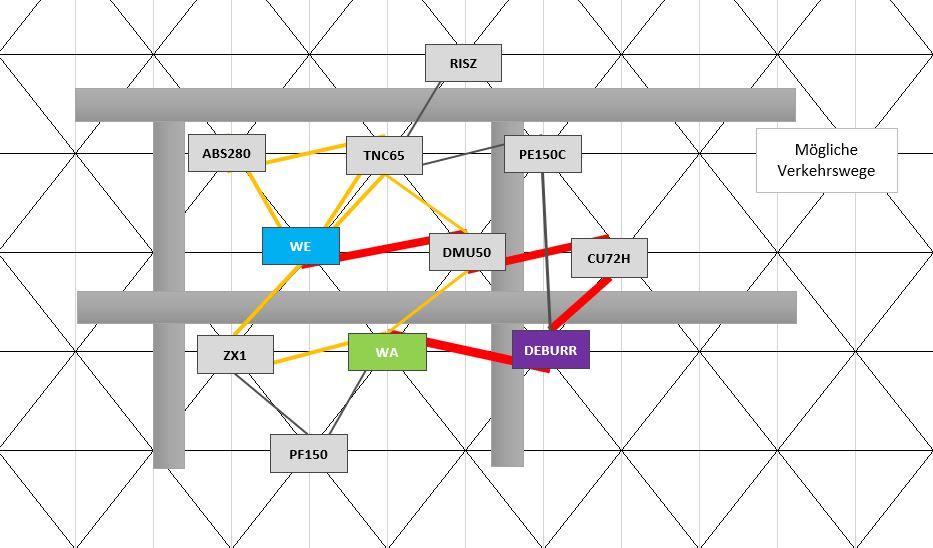 Ursprüngliche Planung mit eingezeichneten möglichen Verkehrswegen im Excel Schmigalla Tool