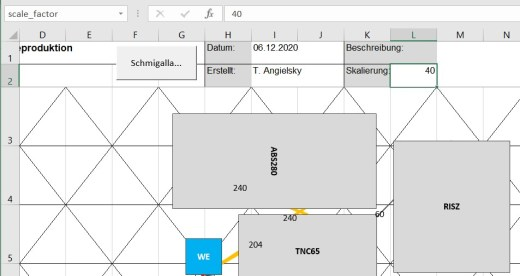 Planungsblatt mit Skalierungsfaktor im Excel Schmigalla Tool