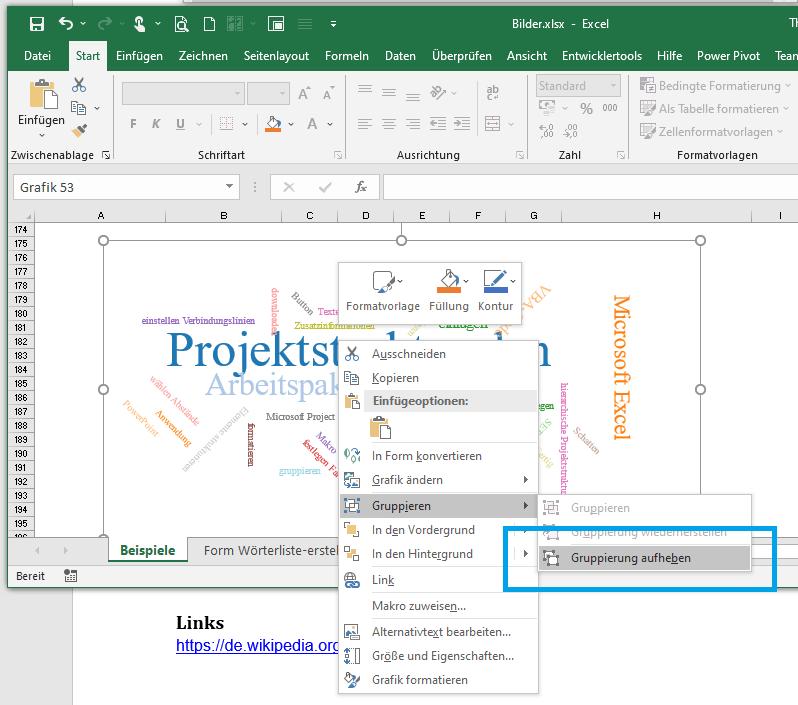 Einfügen der Büro Word Cloud SVG-Datei