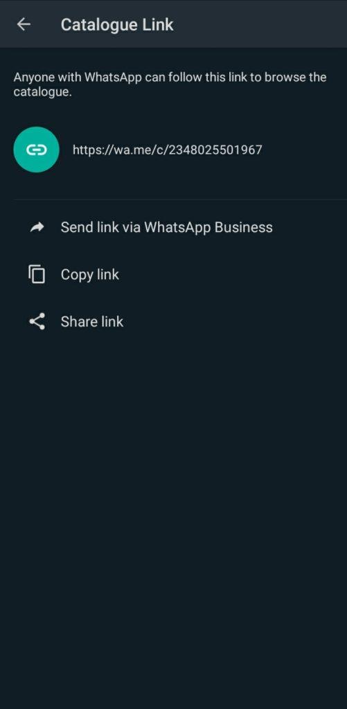 WhatsAppBusiness Catalogue link