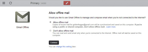 Gmail is one of the most popular and free email service that is being used by a majority of internet users. There's a lot of effort behind the scene that keeps Gmail's services online. But in spite of that, once in a while there are a few outages which render Gmail unavailable in some part of the world. Most of the time Google's response time has been pretty fast and the services get restored in time with minimum downtime.  But in spite of all the infrastructure that goes into keeping Gmail online, the chances of an future outage cannot be ruled out. So just in case Gmail suffers through a downtime in the future, here's an alternate method of accessing your Gmail account using Google Chrome. Additionally you can also use this method to access Gmail when you don't have internet access.  Gmail Offline is an app for Google Chrome that enables Google Chrome to store your emails offline on your computer and make it available to you whenever you can't access an internet connection. When installed the app will allow you to read, search and respond to your emails. One your computer has access to the internet, the app will automatically synchronize your emails and the queued actions.  Here's how you can access gmail offline on Google chrome  How to Access and Use Gmail Offline in Google Chrome  Step 1: Install the Gmail Offline app on Google chrome. Once installed you will be able to access the app from a list of chrome apps that opens up in a new tab. install Gmail offline How to Access and Use Gmail Offline in Google Chrome     Step 2: Click on the Gmail offline app icon to open it. gmail offline apps How to Access and Use Gmail Offline in Google Chrome  Step 3: On the first run you would be asked whether you want to allow mail offline. Select Allow offline mail and click on continue to proceed further. allow mail offline chrome gmail offline How to Access and Use Gmail Offline in Google Chrome  Step 4: Now you will be able to access Gmail offline. Although Gmail will only