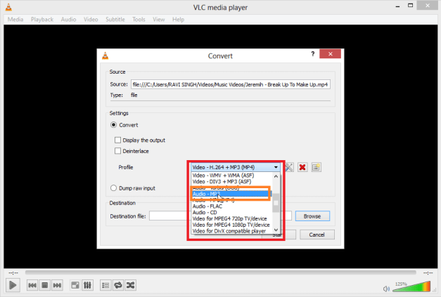 select audio format How to Extract Audio from Video files using VLC Media Player