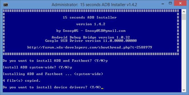 Install adb fastboot drivers in Windows