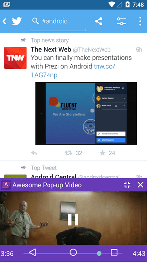 Play videos in pop-up window above Facebook and other applications on Android