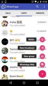 Floating shortcut bar to go to Mods, Create New Group or Broadcast and WhatsappWeb -Techposts
