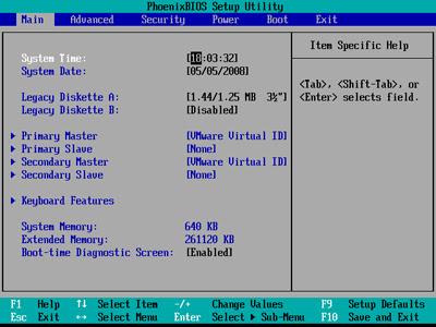 access BIOS Main Menu
