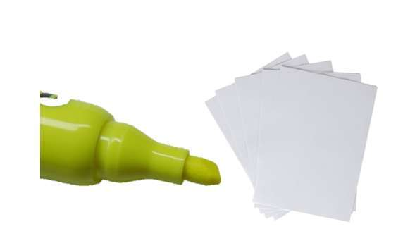 A highlighter and a White paper sheet