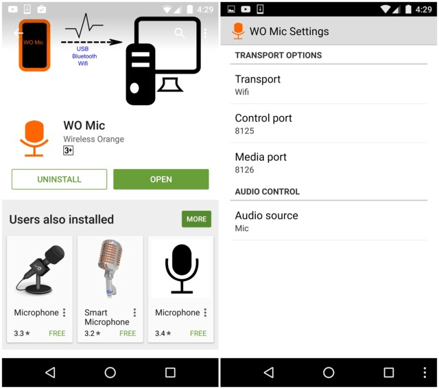 Settings Menu in WO Mic Android App -Techposts