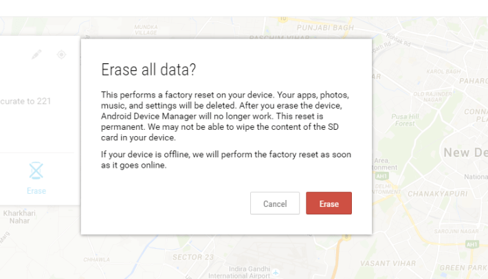 Erase Sensitive data from your Stolen or lost Android Device if not found