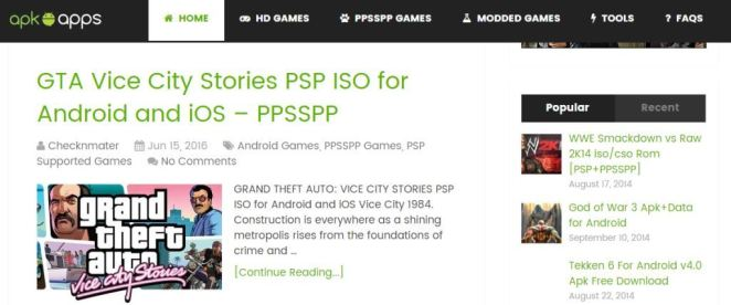 Download PSP ROMs from Apkapps