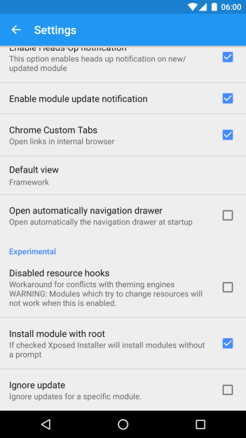 Settings of Xposed Installer