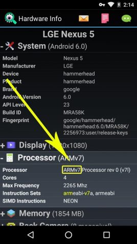 Check Android Phone Processor Type