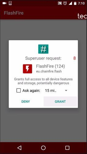 Grant root Access to Flashfire app