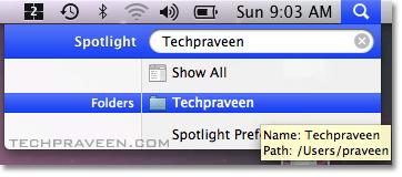 Search folders using Spotlight