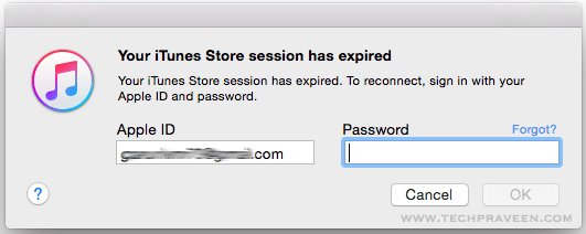 iTunes Store session has expired