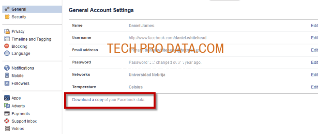 Download the Data Facebook Archive