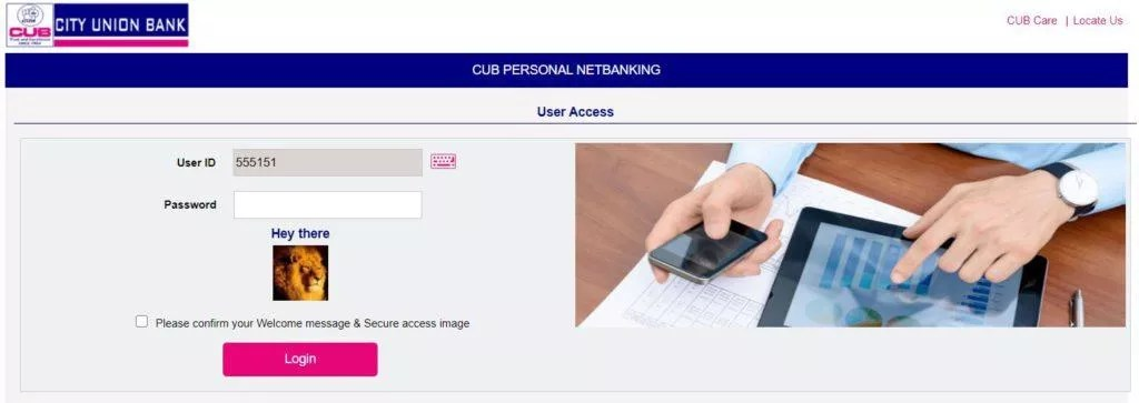 CUB NET BANKING REGISTRATION
