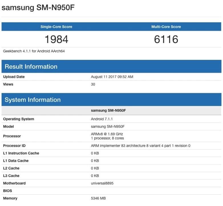 Galaxy Note 8 Geekbench Score